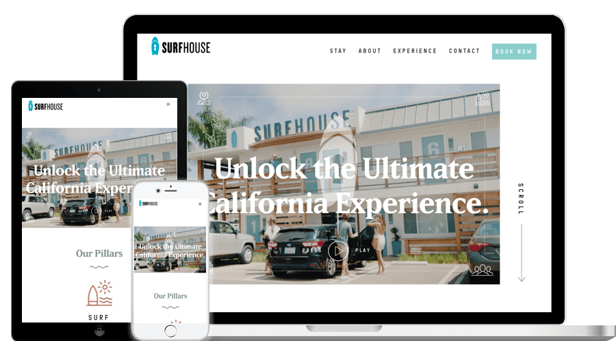 Surfhouse Homepage Mockup